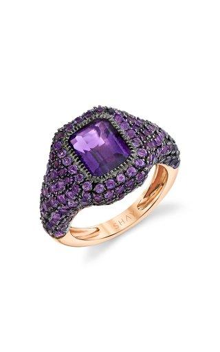 18K Rose Gold Jumbo Baguette Pave Amethyst Pinky Ring