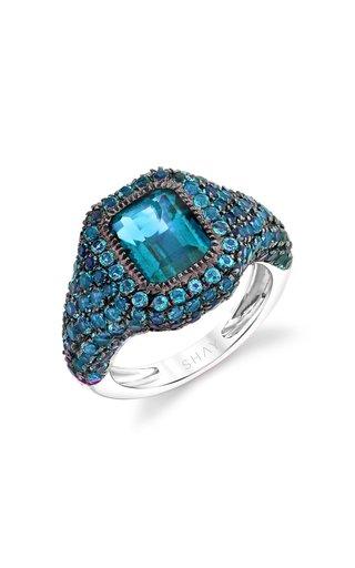 18K White Gold Jumbo Baguette Pave Light Blue Topaz Pinky Ring