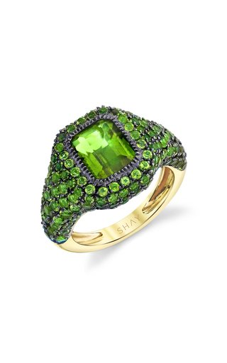 18K Yellow Gold Jumbo Baguette Pave Diopside Pinky Ring