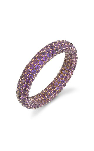 18K Rose Gold Inside & Out Amethyst Eternity Band