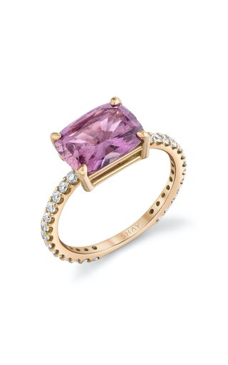 18K Rose Gold Emerald Cut Pink Sapphire Ring