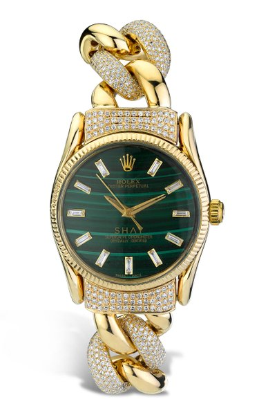 18K Yellow Gold Meteorite Rolex Watch with Emerald Cut Accents