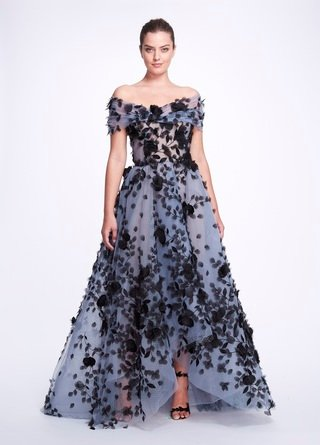 Floral-Appliqued Tulle Gown With Wrap