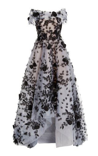 Floral-Appliqued Tulle Gown