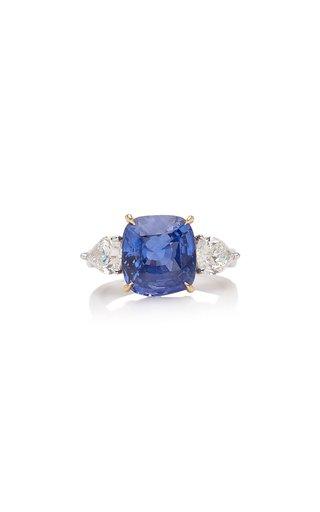18K Gold Sapphire, Diamond Ring
