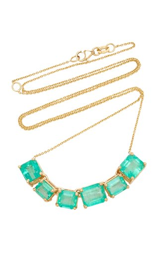 18K Yellow Gold Emerald Necklace