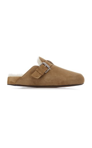 Mirvin Shearling-Lined Suede Mules