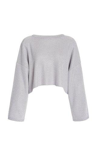 Oversized Metallic Wool-Blend Cropped Sweater