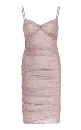 Ruched Metallic Knit Mini Dress