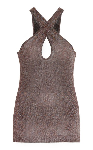 Wrap-Around Metallic Knit Top