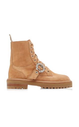 Cora Embellished Suede Combat Boots