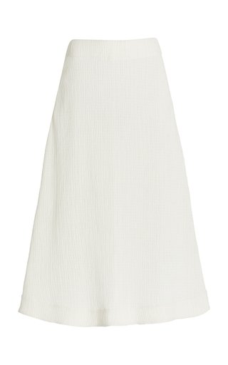 A-Line Plissé Midi Skirt