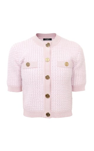Cropped Fluffy Knitted Cardigan