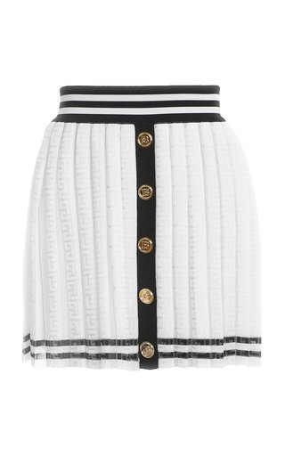 Pleated Monogrammed Jacquard Skirt