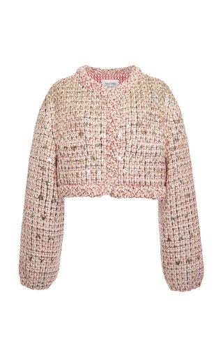 Logo-Sequined Wool-Blend Tweed Cropped jacket