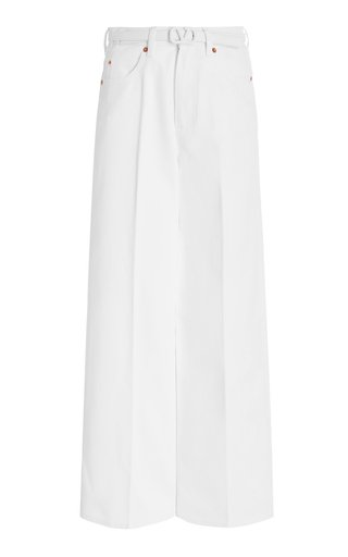 Belted Rigid High-Rise Cropped Wide-Leg Jeans