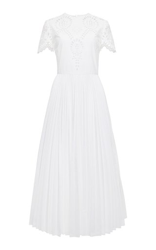 Pleated Cotton-Blend Broderie Anglaise Midi Dress