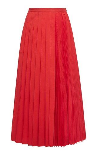 Pleated Cotton-Blend Midi Skirt