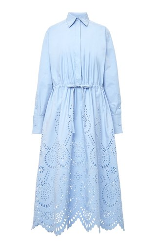 Cotton Broderie Anglaise Midi Shirt Dress