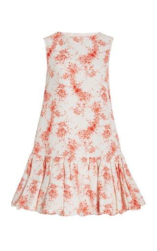 Flounce-Hem Floral Cotton-Silk Mini Dress