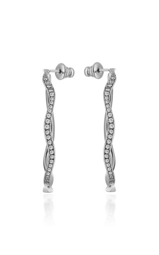 Cintemani 18K White Gold and Diamond Hoop Earrings