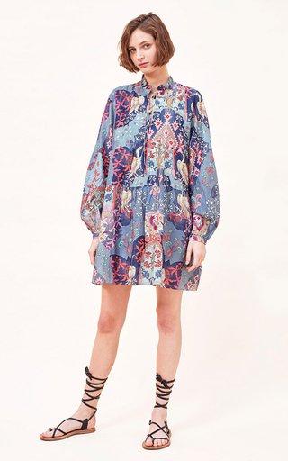 Lidia Printed Cotton-Silk Blend Mini Dress