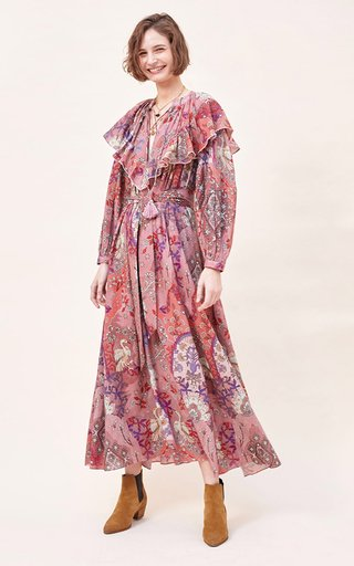 Martin Printed Fil A Coupe Cotton Voile Maxi Dress
