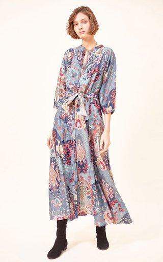 Irina Printed Cotton-Silk Blend Maxi Dress