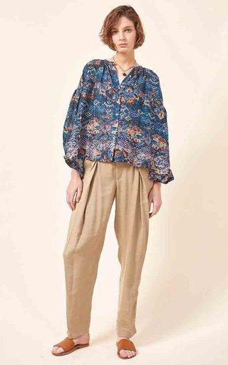 Luiza Printed Cotton-Silk Blend Blouse