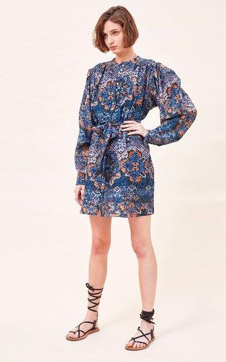 Delia Printed Cotton-Silk Blend Mini Dress