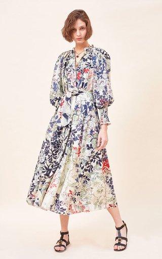 Crina Printed Cotton-Silk Blend Maxi Dress