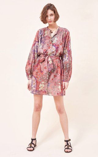 Ghita Quilted Fil A Coupe Cotton Voile Mini Dress