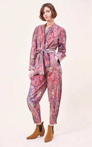 Tibor Printed Organic Cotton Poplin Jumpsuit