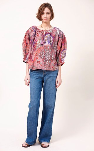 Flavia Printed Fil A Coupe Cotton Voile Top