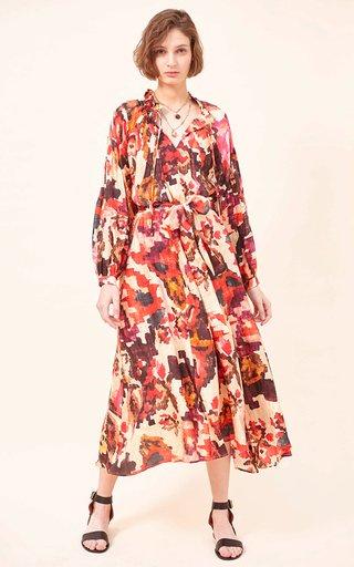 Dela Silk Habutai Printed Maxi Dress