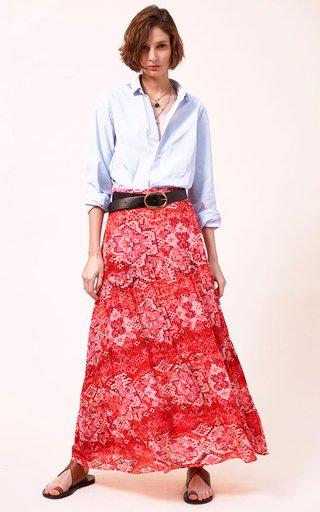 Cici Printed Tiered Crepe De Chine Maxi Skirt