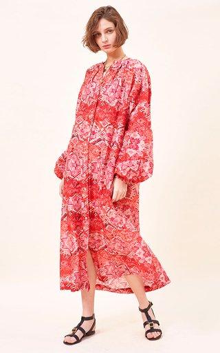 Sofia Printed Cotton-Silk Blend Maxi Dress