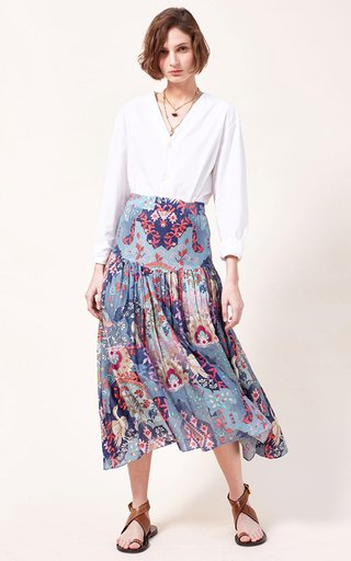 Ana Printed Cotton-Silk Blend Maxi Skirt