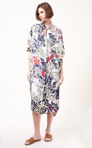 Zina Printed Silk Habutai Maxi Shirt Dress