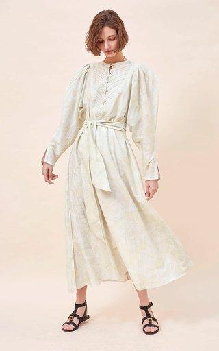 Uta Embroidered Cotton-Silk Blend Voile Printed Maxi Dress