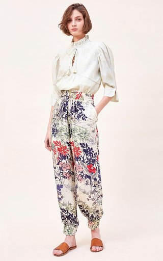 Fiora Embroidered Cotton-Silk Blend Voile Printed Top