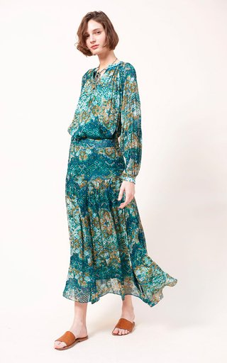 Ana Printed Fil A Coupe Georgette Maxi Skirt