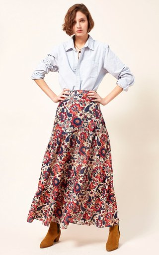 Cici Printed Tiered Cotton And Silk-Blend Maxi Skirt