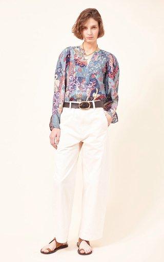 Dol Printed Cotton-Silk Blend Top