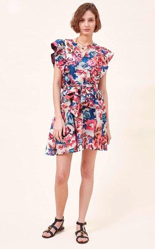 Luca Ruffled Cotton-Silk Blend Mini Dress