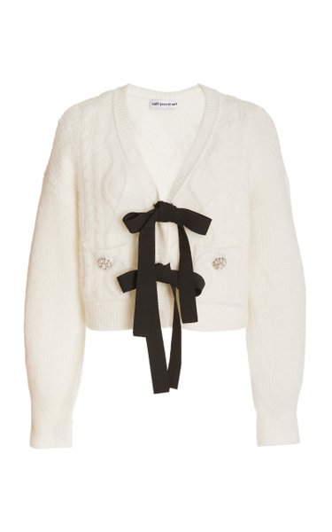 Bow-Embellished Cable-Knit Cardigan