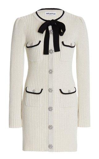 Embellished Metallic Ribbed-Knit Mini Dress