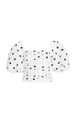 Puff-Sleeve Polka-Dot Taffeta Top