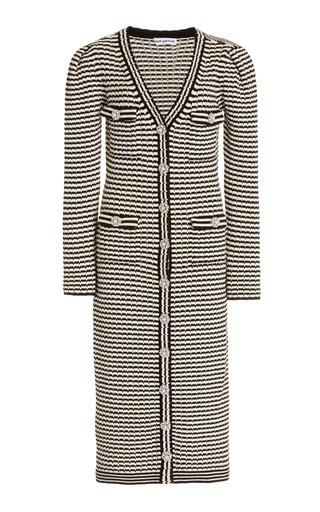 Melange-Knit Cotton-Blend Longline Cardigan