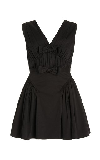 Bow-Embellished Cotton Mini Dress